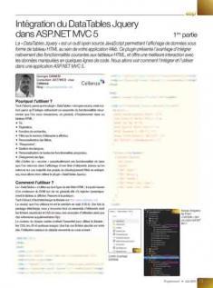 Intégration du DataTables Jquery dans ASP NET MVC 5 1ère partie